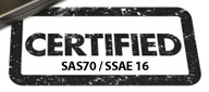 An image of a stamp reading Certified SAS70 / SSAE 16
