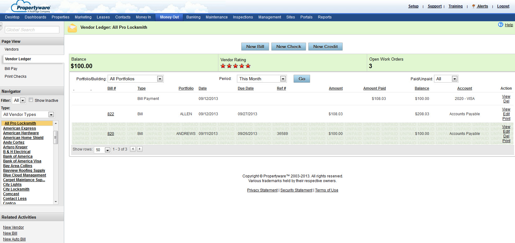 how to attach a work order to a bill in propertyware