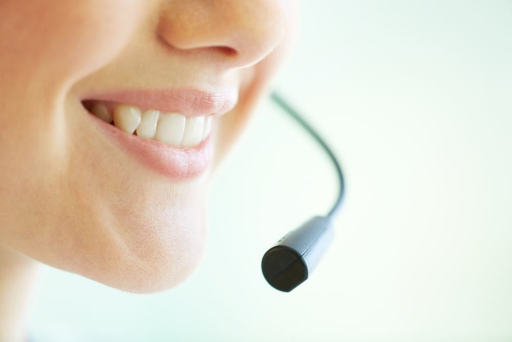 Smiling contact center representative